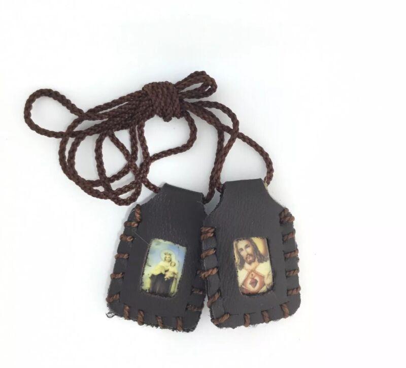 Sacred Heart of Jesus Christ Virgen of Mount Carmel Leather Scapular escapulario