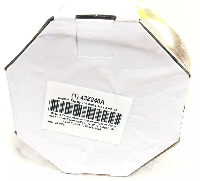 100 Caution Tag Roll Barricade Tag Pack of 100 43Z240A New Sealed 6-1/4 x 3