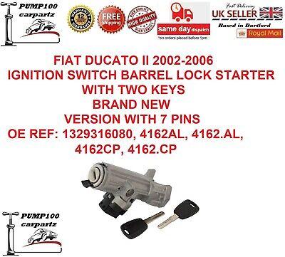 FIAT DUCATO 2002-2006 IGNITION BARREL LOCK CYLINDER SWITCH STARTER & KEYS 7 PINS