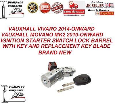 VAUXHALL VIVARO 2014- MOVANO 2010- IGNITION  STARTER SWITCH LOCK  BARREL AND KEY