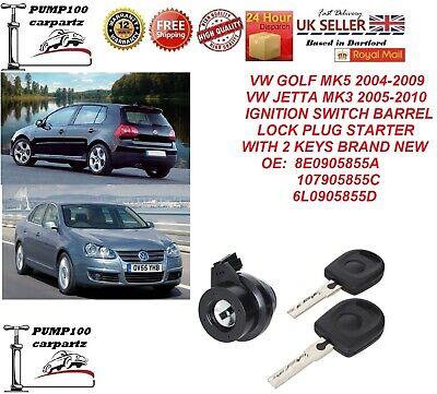 VW GOLF MK5 JETTA MK3 IGNITION SWITCH BARREL LOCK CYLINDER PLUG STARTER & KEYS