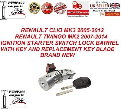 RENAULT CLIO 05-12 TWINGO 07-14  IGNITION  STARTER SWITCH LOCK  BARREL WITH KEY