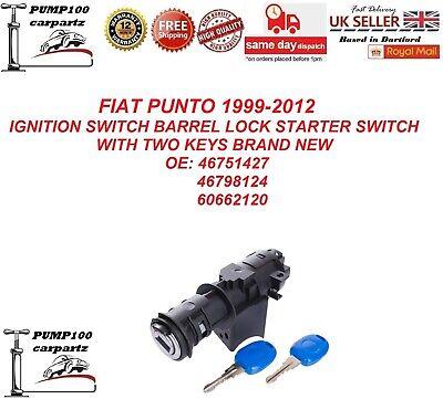 FIAT PUNTO 1999-2012  IGNITION  BARREL LOCK  CYLINDER SWITCH STARTER & KEYS NEW