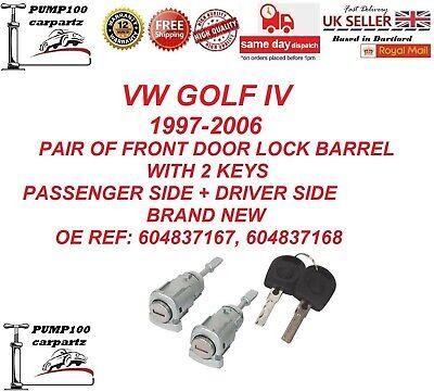 For VW Fabia 1999-2007 Front Right Driver Door Lock Barrel /& 2 Keys 1U0837168 ZD