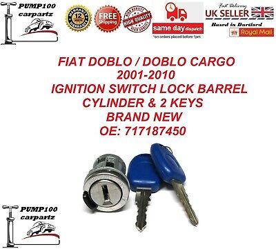 FIAT DOBLO MK1 2001-2010 IGNITION LOCK BARREL CYLINDER SWITCH STARTER & 2 KEYS