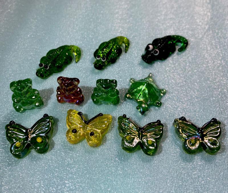 Lot Of 11 mini glass figurines