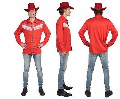 Line Dance Hemd Cowboy Kostüm Herren Country Hemd rot - Line Dance Kostüm