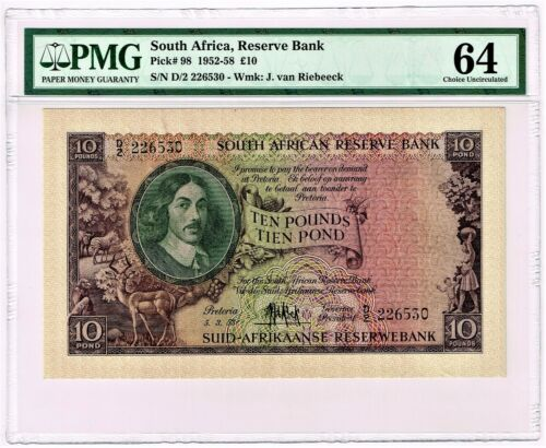 South Africa: 10 Pounds 5.3.1953 Pick 98. PMG Choice Uncirculated 64.