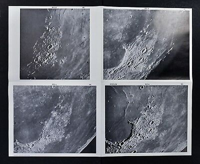 1960 Photographic Lunar Moon Map - 4 Photo Set - Field Iridum E2 Surface Craters