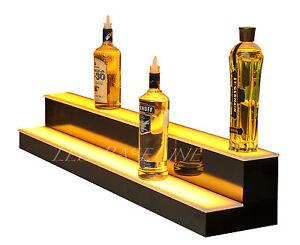60-LED-BAR-SHELVES-Two-Steps-Lighted-Liquor-Bottle-Shelf-Display-Shelving