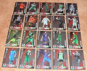 Adrenalyn Champions League 2012-13 Goal Stopper complete set of 20 cards Rare - France - A wonderful complete set of 20 Goal Stopper rare cards (only 1 every 11 packets !!) from Panini collection Adrenalyn Champions League 2012/2013. All cards are new and unused : - Kenneth Vermeer (Ajax) - Wojciech Szczesny (Arsenal) - Victor Valdé - France