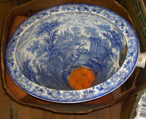 Antique English Transferware Toilet Bowl Ceramic  Chamber Pot  Blue White