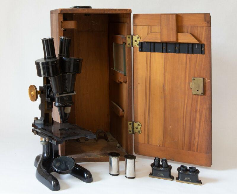 Antique 1923 Bausch & Lomb Binocular Microscope – Wood Case, Lenses, Extras