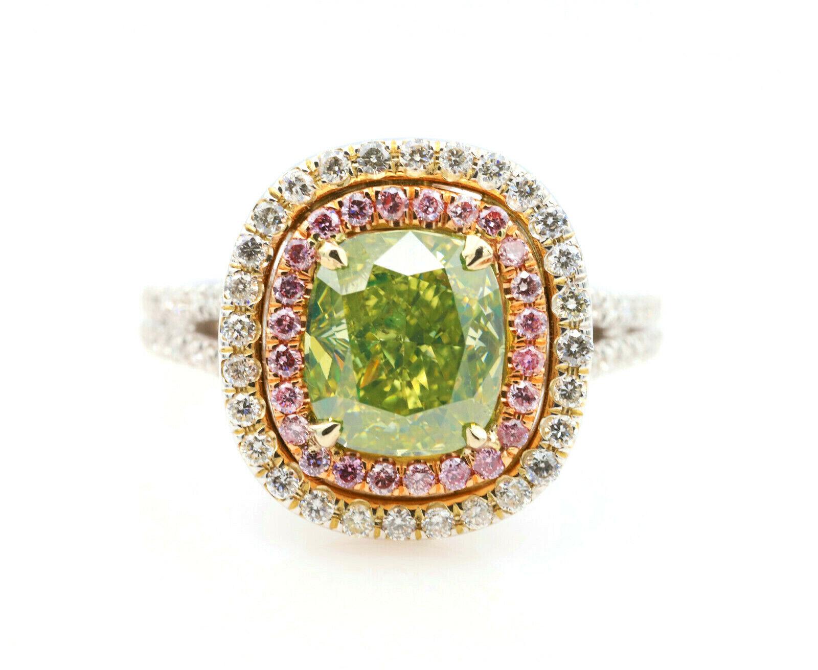 GIA 2.72ct Natural Fancy Green & Argyle 6PP Pink Diamonds Engagement Ring 18K
