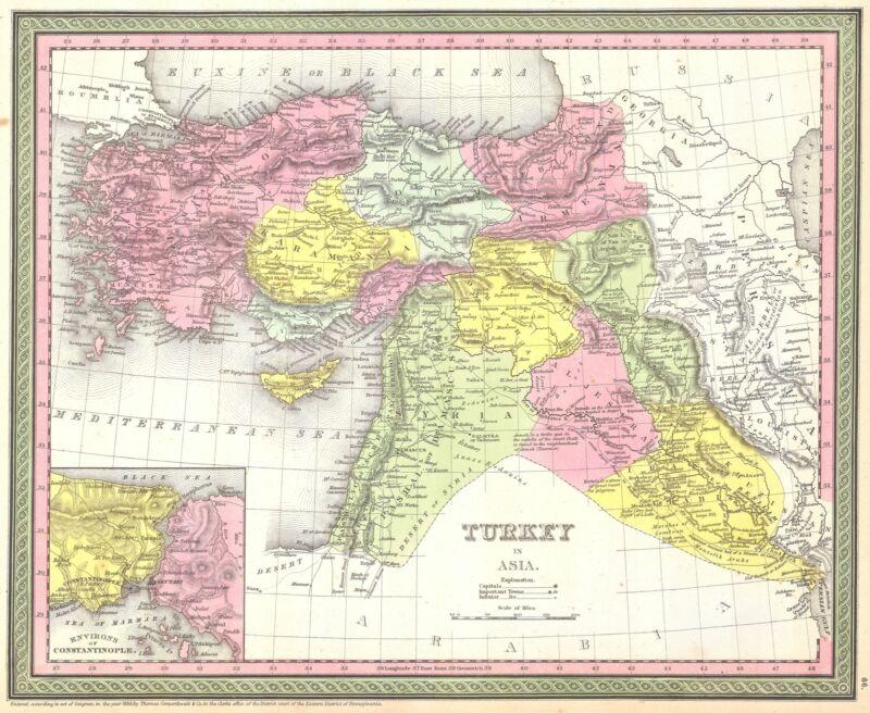 1850 Mitchell - Mitchell Map of Turkey in Asia