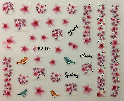 Nail Art 3D Decal Stickers Japanese Cherry Blossom Flowers & Bird Spring E310
