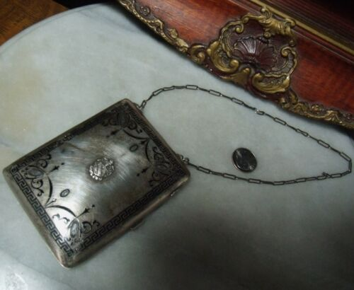 Antique Sterling Silver Heavy Rare Coin Holder Makeup Compact