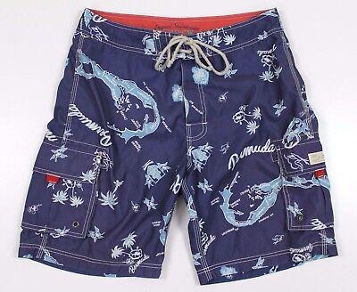 NEW J.Crew Bermuda Topographical Boardshorts MENS 32 Navy Blue Swim Shorts