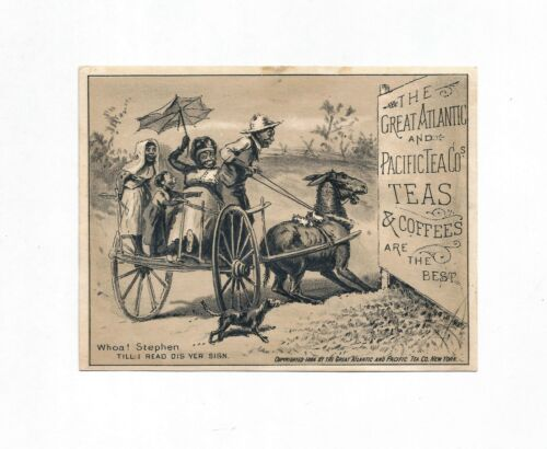 "1884 ""The Great Atlantic and Pacific Tea Co."" Trade Card ~Black Americana~"