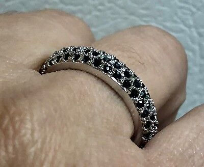 PAVE of GENUINE BLACK ONYX set in .925 STERLING SILVER RING  FAST FREE SHIPPING
