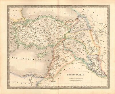 1843 ANTIQUE MAP- DOWER - TURKEY IN ASIA, SYRIA, ARMENIA