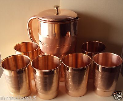 Pure Copper Handmade Jug Water Pitcher 1.5 L & 6 Glasses Tumbler 300 ml Storage