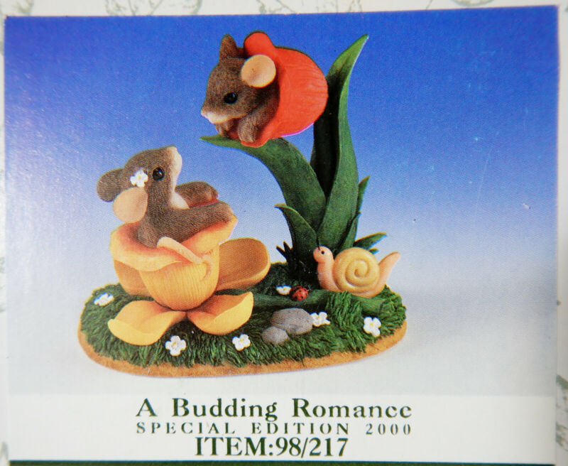 """Charming Tails """"A BUDDING ROMANCE"""" Exclusive Limited Edition 98/217 New"""