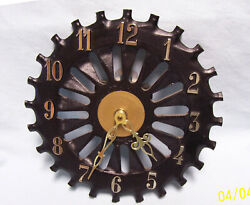 WALL CLOCK Collectible Battery Clock Black Cast Iron Cog Wheel Shape 7.5 D