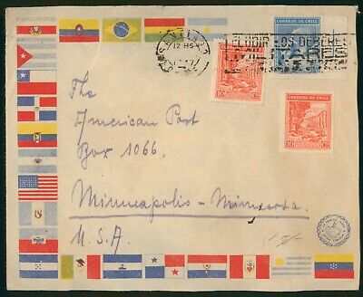 Mayfairstamps Chile 1947 to US Flags Illustrated cover wwo1657