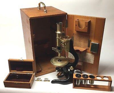 Restored Antique Leitz Brass Pol Polarizing Microscope With Wood Box Ec