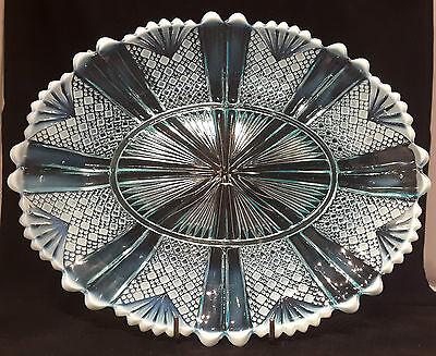 "DAVIDSON~RICHELIEU~RD:96945~BLUE PEARLINE~GLASS~OVAL PLATE~10~3/4""L x 8~3/4""W"