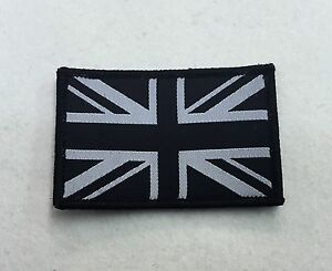 Union Jack Badge, Velcro, Black & White, TRF, Military, Army, Sleeve, Arm, Patch