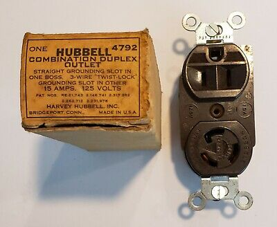 4792 Hubbell Combo Duplex Outlet Twist Lock 15a 125v