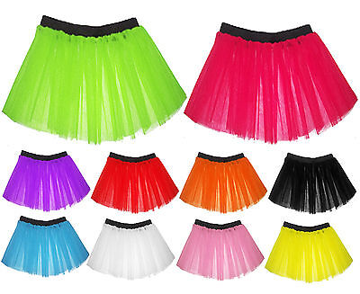 Neon 3 Layers UV Flo Girls Tutu Skirt Hen Fancy Dress Party (Flo Kostüm)