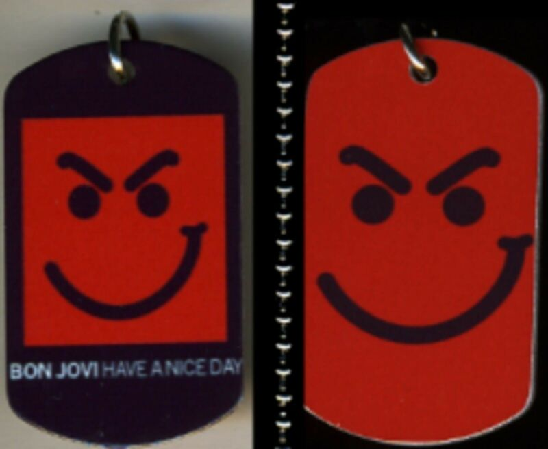 Bon Jovi Smirk Smirky Guy Rock N Roll Color Logo Aluminum Dog Tag Necklace NEW