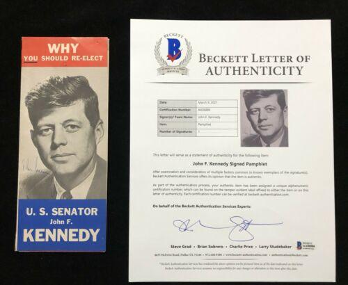 President John F. Kennedy JFK Signed Autographed Pamphlet BAS BECKETT LOA
