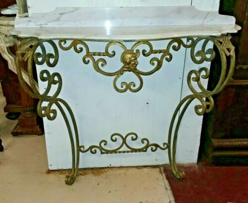 Antique Gilt Metal Console with Marble Top Entryway Italian