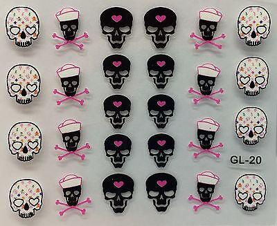 Nail Art 3D Decal Stickers Halloween Skull & Pink Bones Heart - 3d Halloween Nail Art