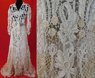 Victorian Gros Point de Venise Needlepoint Lace Wedding Gown Skirt & Blouse Vtg