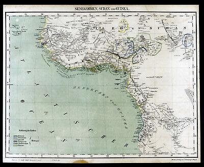 1859 Afrika Senegambien Sudan Guinea Landkarte old Map original Lithographie