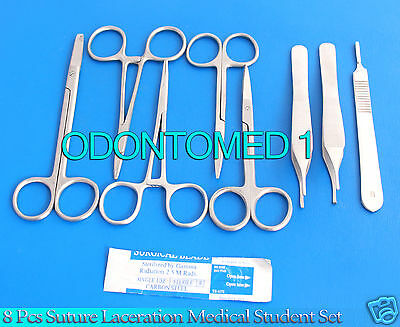 8 Pcs Suture Laceration Medical Student Surgical Instruments Set Kit5 Blade 10