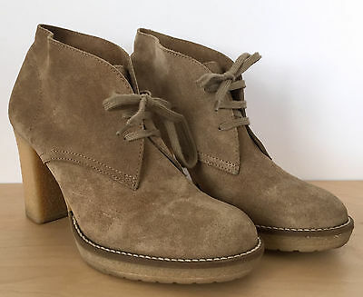J. CREW Womens Beige Tan Suede Leather Chukka Crepe Sole Ankle Boots Heels Sz 8