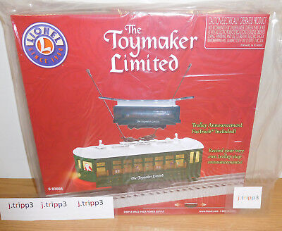 LIONEL 6-83694 CHRISTMAS TOYMAKER MOTORIZED TROLLEY SET TRAIN O GAUGE FASTRACK
