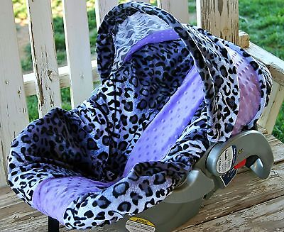 infant car seat cover and hood Cover snow leopard and lavender minky , used for sale  Shipping to India