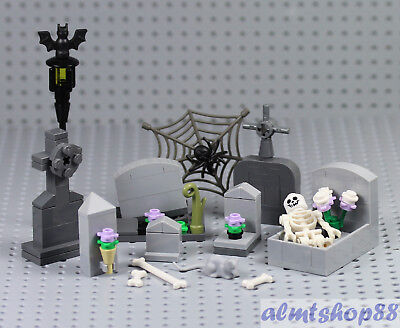 LEGO - Haunted Graveyard Tomb Gravestone - Halloween Spider Skeleton Minifigure  - Graveyard Halloween
