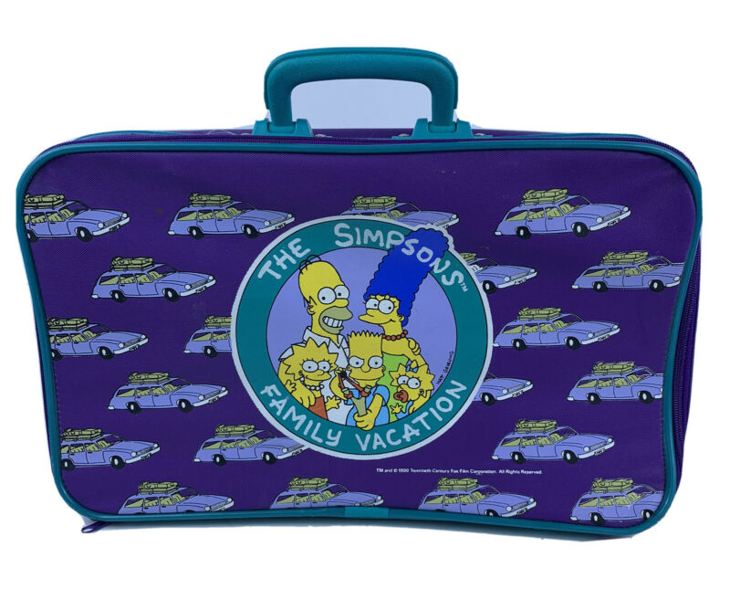 "Vintage The Simpsons Family Vacation Suitcase 1990 18""x10""x4"" Purple Teal EUC"