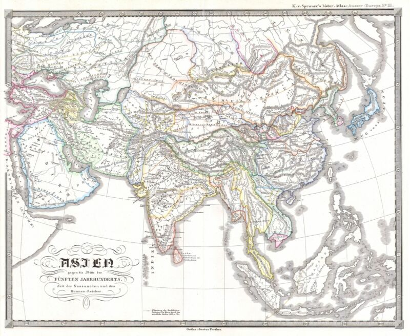 1855 Spruner Map of Asia in the 5th Century  ( Sassanid Empire )