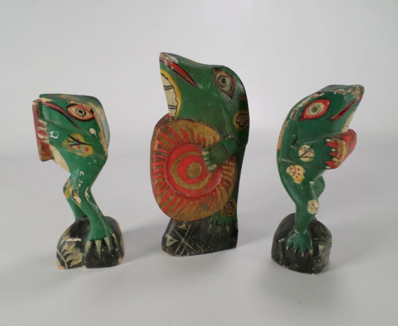 Lot of 3 Wooden Frogs Band Musician Music Drum Flute Hand Carved Painted Vtg