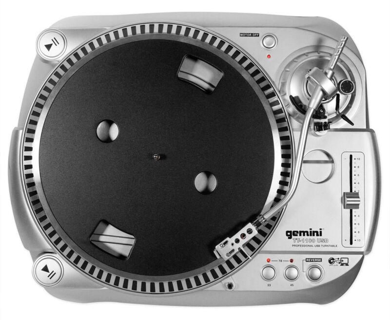 Gemini TT-1100USB Belt Drive Vinyl/Digital DJ Turntable w/ USB/RCA+Software