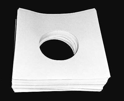 """(100) 45 RPM 7"""" Record INNER SLEEVES With Hole Heavy-Weight 20# White Paper New"""